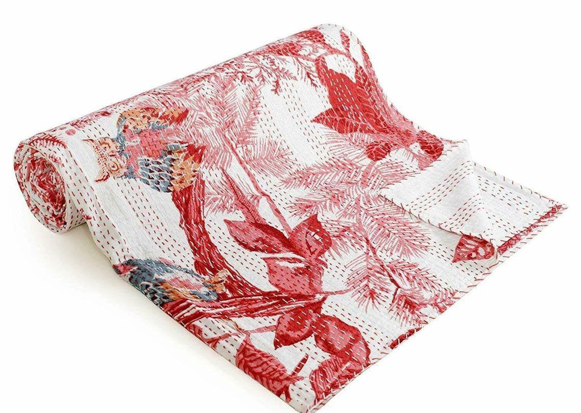 Indian Handmade Bird Print Queen Size Kantha Quilt Cotton Bedding Bedcover Throw