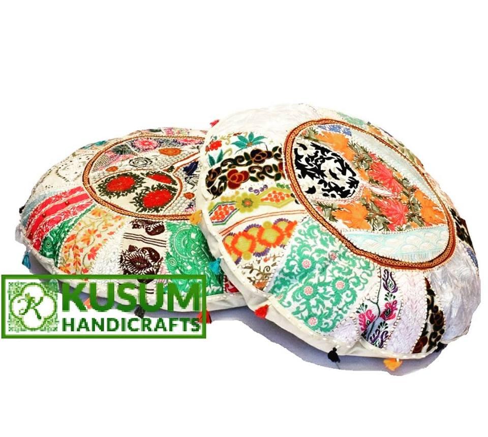 Vintage Sari Patchwork Floor Cushions Indian Patchwork Floor Pillow ...