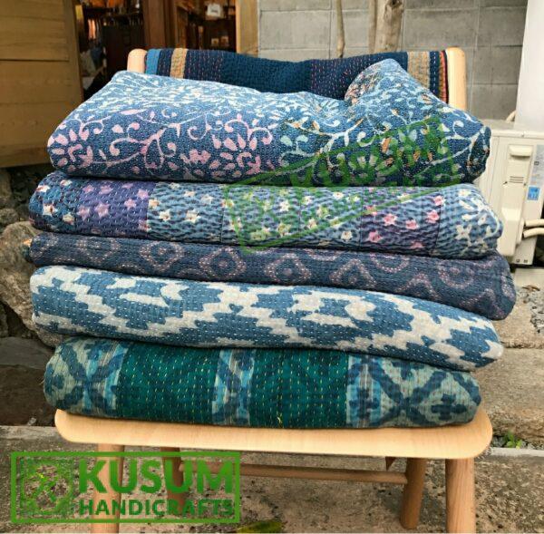 vintagekanthaquilt-indigokanthaquilt-kusumhandicrafts-indigoprintkanthathrow-indigokanthathrow
