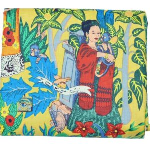 Yellow Frida Kahlo Print Fabric-kusumhandicrafts