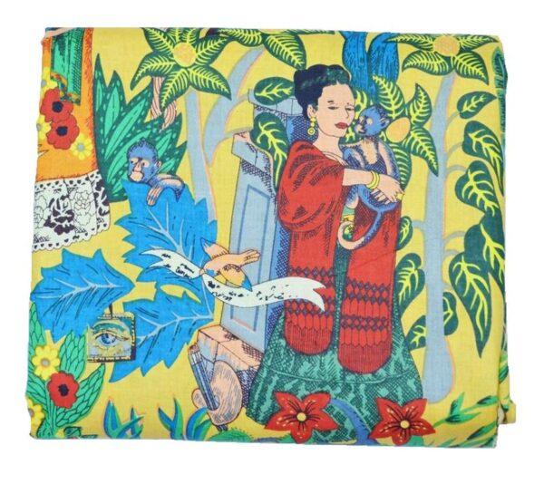 Yellow Frida Kahlo Print Fabric-kusumhandicrafts