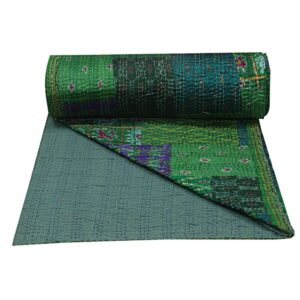 Hand Quilted Silk Bedcover Kantha Indian Bedspread Bohemian Bedding Throw Blanket Large Green Silk Vintage Patola Throw Bedspread Handmade