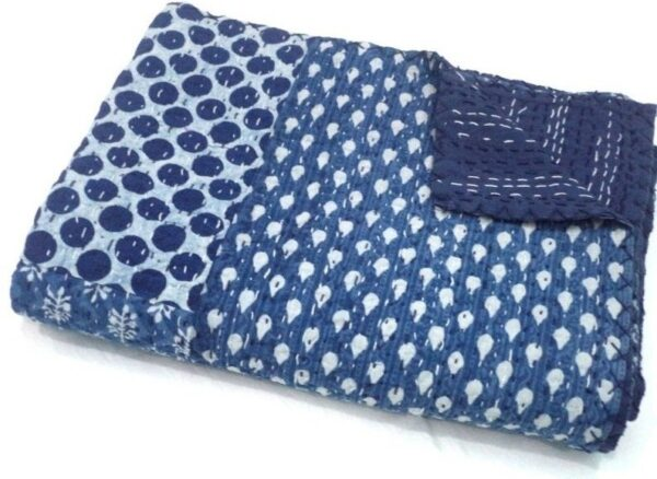 indigo patchwork khantha quilt -kusumhendicrafts
