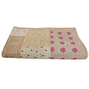 """Item - 1 PC Indian Kantha Quilts Fabric - 100% Cotton Fabric. Dimension - 108"""" X 108"""" Inches ( 274 X 274 CM) Color - As Show in image Wash Care - Normal Hand Wash In Cold Water. Product Description: Indian Cotton fabric Hand Kantha Quilted King Size Quilt, Blanket / Bedspread These King Kantha quilt is made by two layer cotton fabric. These Kantha quilt is made by most of valuable hand art to give a unique Kantha pattern."""