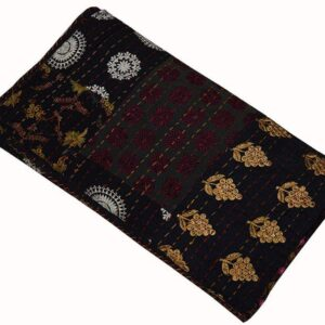 """Product Details: Item - 1 PC Indian Cotton Kantha Quilts Fabric - 100% Cotton Fabric. Dimension - 108"""" X 108"""" Inches ( 274 X 274 CM) Color - As Show in image Wash Care - Normal Hand Wash In Cold Water. Product Description: Indian Cotton fabric Hand Kantha Quilted Twin Size Quilt, Blanket / Bedspread These Twin Kantha quilt is made by two layer cotton fabric. These Kantha quilt is made by most of valuable hand art to give a unique Kantha pattern. Payment policy: We accept the payment by pay pal. International buyers are responsible for their countries duties and taxes."""